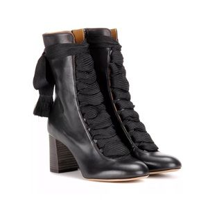 CHLOE Harper Leather Lace Up Mid Calf Boots